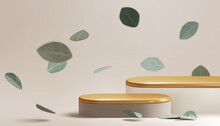 Beautiful Empty Gold Pastel Podium With Falling Eucalyptus Leaves. Beauty Cosmetic Product Display Platform Scene Mockup. 3d Realistic Vector