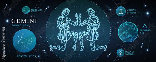 Obraz na plátně Modern magic witchcraft card with astrology Gemini zodiac sign