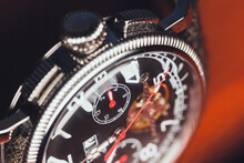 Mechanic Wrist Watch, Closeup Fragment Photo