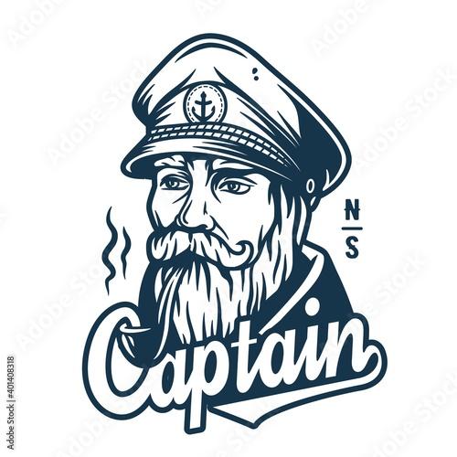 Fototapeta Marine sailor captain with smoking pipe