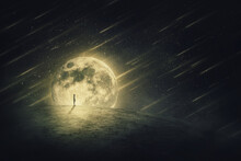 Surreal World Scene With A Person Silhouette, Alone On A Dry Empty Land, Looking At The Starry Night Sky With Comets Falling, Over A Full Moon Background. Spatial Phenomenon, Conceptual Landscape.