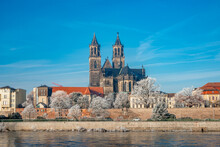 Magdeburg Historical Downtown In Winter With Icy Trees And Blue Sky At Sunny Day, Germany.