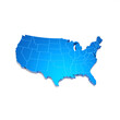 USA map blue 3D Shape