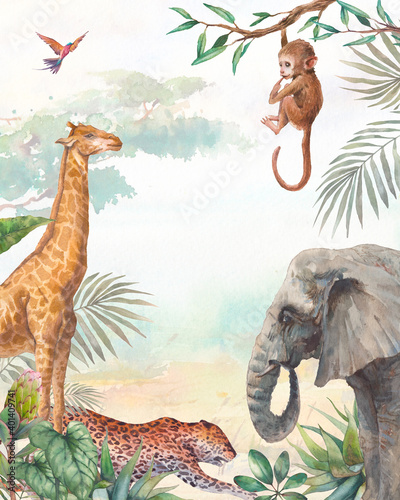 Tropical card background. Illustration with elephant, chimp, leopard and giraffe. Safari animal and jungle flora on watercolor background. - fototapety na wymiar