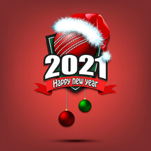 Happy New Year 2021. Cricket Logo Template Design. Cricket Ball In Santa Hat. Pattern For Banner, Poster, Greeting Card, Party Invitation. Vector Illustration