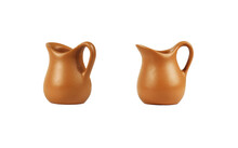 Set Of Tiny Empty Brown Clay Jugs