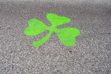 Saint Louis, MO—Mar 15, 2019; Green Shamrock Temporarily Painted On Road To Mark Saint Patrick's Day Parade Route And 5K Race Downtown