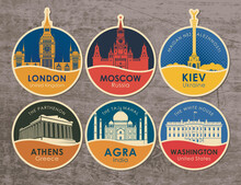Set Of Stickers With The Sights Of The Capitals Of Various Countries. Vector Illustration On The Theme Of Travel With Round Emblems On A Wooden Background. UK, Russia, Ukraine, Greece, India, USA