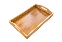 Wooden Tray On Wooden Table.