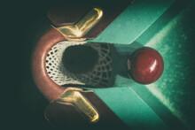 Closeup Shot Of Red Ball Going In Billiard Pocket