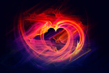 Abstract Fractal Pattern In The Form Of A Heart On A Dark Background And Is Suitable For Use In Projects Of Imagination, Creativity And Design. Wallpapers And Postcards
