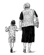 Sketch Of Elderly Woman With Her Grandson Walking For A Stroll