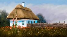 Oil Paintings Landscape, Traditional Ukrainian Village House