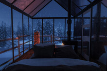 3d Rendering Of Cozy Hut With Bed And Glass Panels At Snow Covered Forest