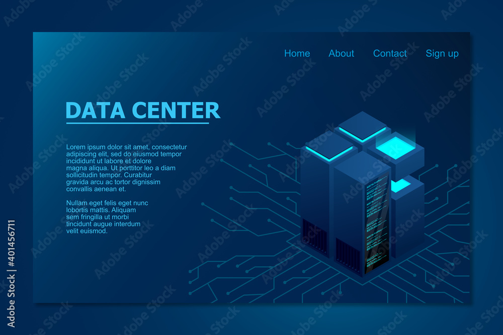 Fototapeta Isometric Data center. Data center landing page. Isometric servers vector design. Vector illustration