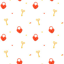 Seamless Pattern With A Red Heart Lock And A Gold Key On A White Background. Romantic Background For Valentine's Day Cards. Cute Vector Illustration