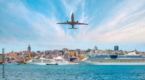 Airplane flying over Istanbul city - Luxury cruise ship in Bosporus against ista Fotobehang