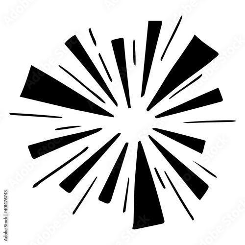 Fototapeta Doodle Sunburst. Hand drawn fireworks explosion. Illustration Design Elements. Vector illustration. obraz