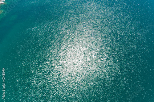 Fotografering Sea surface aerial view,Bird eye view photo of turquoise waves and water surface