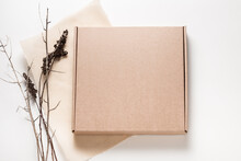 Brown Cardboard Box, Minimalism Style Decorated With Dried Brunches