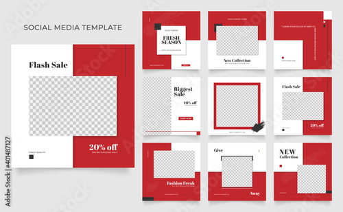Fototapeta social media template banner blog fashion sale promotion. fully editable instagram and facebook square post frame puzzle organic sale poster. red white vector background obraz