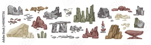 Set of various stone and rock hand drawn vector illustration in realistic style. Bundle of detailed big and small heavy stones isolated. Different boulders and cobblestones smooth or polygonal shapes - fototapety na wymiar
