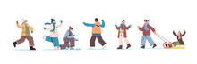 Set Mix Race People In Masks Walking Outdoor Men Women Having Winter Fun Outdoors Activities Coronavirus Quarantine Concept Full Length Horizontal Vector Illustration