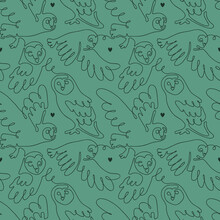 Vector Continuous Line Seamless Pattern With Wild Barn Owl Flying In The Night