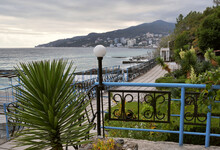 Decorative Garden With Subtropical Vegetation In Autumn On The Seafront
