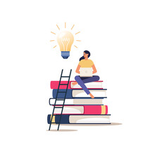 Online Education Or Courses. Girl With Laptop Sits On Books. Vector Concept Of Distance Learning.