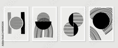 Obraz Abstract wall arts vector collection.  Earth tones Hand drawn organic shape art design for wall framed prints, canvas prints, poster, home decor, cover, wallpaper. - fototapety do salonu