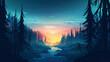 Vector forest, sunset forest, sunset, forest, nature, sky, HD wallpaper