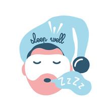 Sleep Well On Man With Mask Sleeping Vector Design