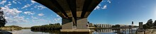 Beautiful Underneath Panoramic View Of A Road Bridge Across A River, Wilson Park, Sydney, New South Wales, Australia