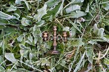 Miniature Candelabrum, Brass Candle Holder On The Ground Between Frozen Plants