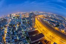 Beautiful Night City, Cityscape Of Ho Chi Minh City, Vietnam, Modern Futuristic Architecture Nighttime Illumination, Luxury Traveling Concept.