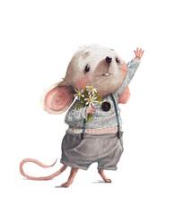 Cute Little Cartoon White Cartoon Mouse