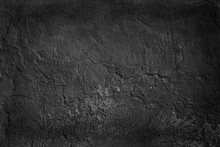Abstract Black Background Blank Concrete Wall Grunge Stucco Cracked Texture