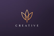 Gold Leaf Luxury Flower Logo In Simple Shape With Modern Style
