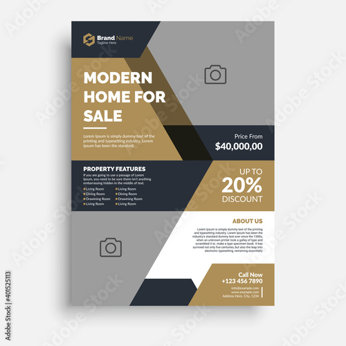 Photo Real Estate business flyer poster pamphlet brochure cover template design with a4 paper size