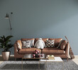 modern living room with leather sofa, 3d render