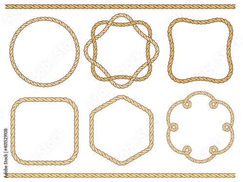 Photo ロープ 縄のフレームセット Rope frame