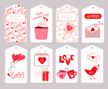 Cupcake, Letter, Hearts, Mugs And Balloons. Set Of Tags For Valentins Day. Vector Illustration. For Packaging, Gifts, Scrapbooking And Decoration