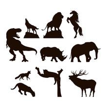 Wild Animals Fauna Silhouettes Icons