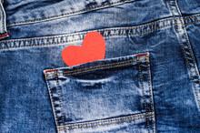Red Heart In A Denim Pocket. Valentine's Card.