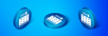 Isometric Arcade Game Machine With Hammer Icon Isolated On Blue Background. Amusement Park Attraction. Blue Circle Button. Vector.