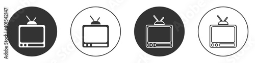 Fotografia Black Retro tv icon isolated on white background
