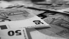 Big Paper Money Pile Of 50 Euro Bills Or Banknotes. Lots Of Money. Being Rich Concept. Black And White Photo