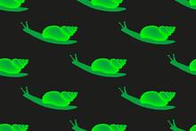 Green Snails Illustration Seamless Pattern
