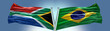 canvas print picture - Double Flag Brazil vs South Africa flag waving flag with texture background
